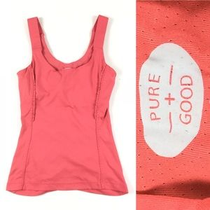 PURE + GOOD Activewear Shelf Bra Ruched Tank Small